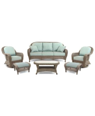 Sandy Cove Outdoor Wicker 6-Pc. Seating Set (1 Sofa, 2 Swivel Gliders, 2 Ottomans and 1 Coffee Table), Created for Macy's