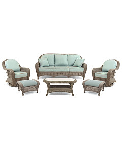 Sandy Cove Outdoor Wicker 6 Pc Seating Set 1 Sofa 2 Swivel Gliders 2 Ottomans And 1 Coffee Table Created For Macy S