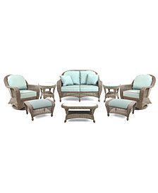 Sandy Cove Outdoor Wicker 8-Pc. Seating Set (1 Loveseat, 2 Swivel Gliders, 2 Ottomans, 1 Coffee Table and 2 End Tables), Created for Macy's