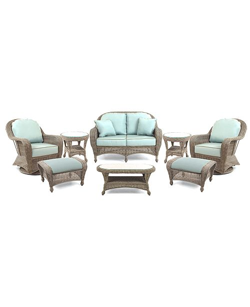 Furniture Sandy Cove Outdoor Wicker 8-Pc. Seating Set (1 Loveseat, 2 Swivel Gliders, 2 Ottomans, 1 Coffee Table and 2 End Tables), Created for Macy's