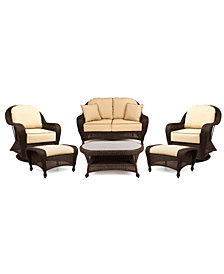 Monterey Outdoor Wicker 6-Pc. Seating Set with Sunbrella® Cushions  (1 Loveseat, 2 Swivel Gliders, 2 Ottomans and 1 Coffee Table), Created for Macy's