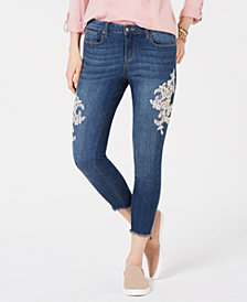 Style & Co Petite Lace-Embellished Skinny Jeans, Created for Macy's