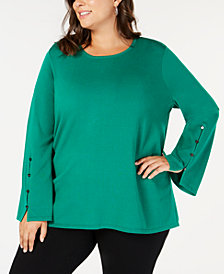 Alfani Plus Size Buttoned Bell-Sleeve Sweater, Created for Macy's