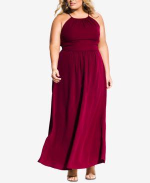 CITY CHIC Trendy Plus Size Pleated Maxi Dress in Garnet