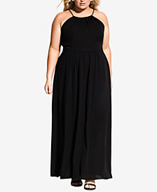 City Chic Trendy Plus Size Pleated Maxi Dress