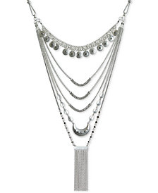 "Lucky Brand Silver-Tone Crystal & Chain Fringe Layered Statement Necklace, 17"" + 2"" extender"