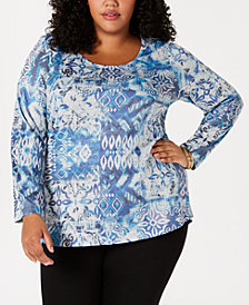 Style & Co Plus Size Printed Embellished Top, Created for Macy's
