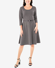NY Collection Belted Ponté-Knit Dress