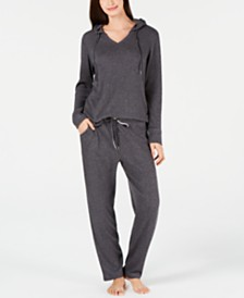 Alfani Ribbed Hacci Hoodie & Pajama Pants Sleep Separates, Created for Macy's
