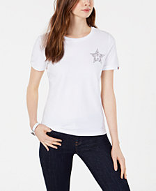 Tommy Hilfiger Embellished-Logo T-Shirt, Created for Macy's