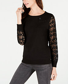 Tommy Hilfiger Star-Lace Sleeve Top, Created for Macy's
