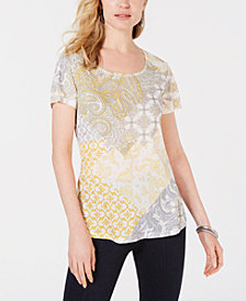 Style & Co Printed Scoop-Neck Short-Sleeve Top, Created for Macy's