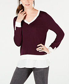 Tommy Hilfiger Layered-Look V-Neck Sweater, Created for Macy's