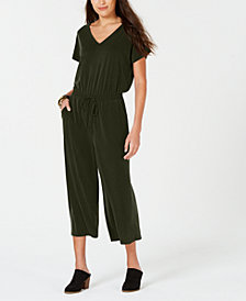 Style & Co Petite Cropped V-Neck Jumpsuit, Created for Macy's
