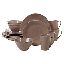 Certified International Harmony Solid Color - Taupe 16-Pc. Dinnerware Set