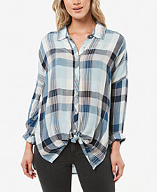 O'Neill Juniors' Arlow High-Low Plaid Shirt