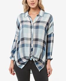 O'Neill Juniors' Arlow High-Low Plaid Shirt