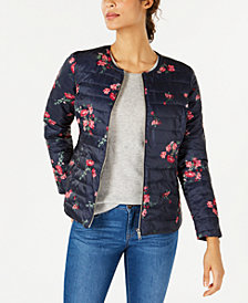 Charter Club Petite Reversible Floral Quilted Jacket, Created for Macy's