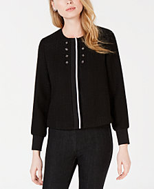 Maison Jules Tweed Bomber Jacket, Created for Macy's