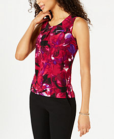 Kasper Floral-Print Pleated Top