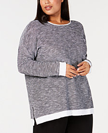 Eileen Fisher Plus Size Organic Contrast-Trim Sweater