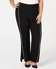 I.N.C. Plus Size Rhinestone-Trim Crepe Wide-Leg Pants, Created for Macy's