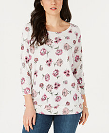 Karen Scott Printed 3/4-Sleeve Top, Created for Macy's