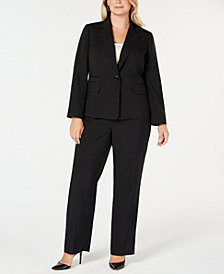 Le Suit Plus Size One-Button Pinstriped Pantsuit