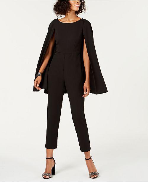 45e533ece5e2 Adrianna Papell Cape Jumpsuit   Reviews - Dresses - Women - Macy s