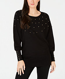 JM Collection Studded Dolman Sweater, Created for Macy's
