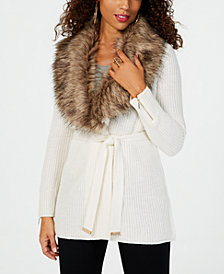 Thalia Sodi Faux-Fur-Trimmed Wrap Cardigan, Created for Macy's
