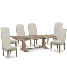 Rachael Ray Monteverdi Dining 7-Pc. Set (Table & 6 Upholstered Side Chairs)