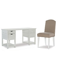 Study Hall Kid's Home Office Furniture, 2-Pc. Set (Junior Executive Desk & Upholstered Desk Chair)