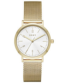 DKNY Women's Minetta Gold-Tone Stainless Steel Mesh Bracelet Watch 36mm, Created for Macy's