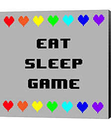Eat Sleep Game - Gray with Pixel Hearts by Color Me Happy Canvas Art