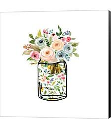 Mason Jar Bouquet by Tara Moss Canvas Art