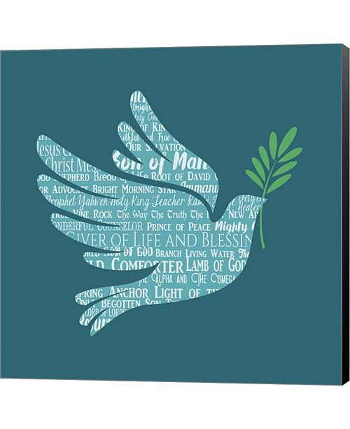Metaverse Names of Jesus Dove Silhouette Blue by Inspire Me Canvas Art