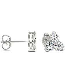 Moissanite 3-Stone Stud Earrings (1 ct. tw. Diamond Equivalent) in 14k White Gold