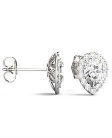 Moissanite Pear Halo Earrings (2 ct. tw. Diamond Equivalent) in 14k White Gold