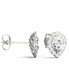 Moissanite Pear Halo Earrings (2 ct. tw. Diamond Equivalent) in 14k White Gold