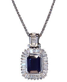 Gemma by EFFY Sapphire (1-1/2 ct. t.w.) and Diamond (1/2 ct. t.w.) Emerald-Cut Pendant in 14k White Gold, Created for Macy's