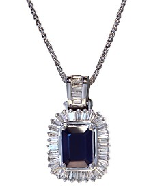 Gemma by EFFY® Sapphire (1-1/2 ct. t.w.) and Diamond (1/2 ct. t.w.) Emerald-Cut Pendant in 14k White Gold, Created for Macy's