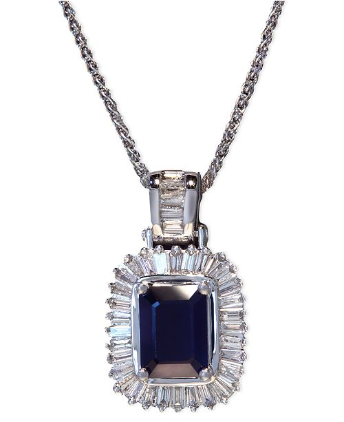 8379e9a9530 Gemma by EFFY® Sapphire (1-1/2 ct. t.w.) and Diamond (1/2 ct. t.w.)  Emerald-Cut Pendant in 14k White Gold, Created for Macy's