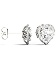 Moissanite Heart Halo Earrings (2 ct. tw. Diamond Equivalent) in 14k White Gold