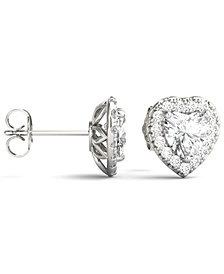 Moissanite Heart Halo Earrings (2 ct. tw.) in 14k White Gold