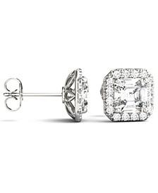 Moissanite Asscher Halo Earrings (3 ct. tw. Diamond Equivalent) in 14k White Gold