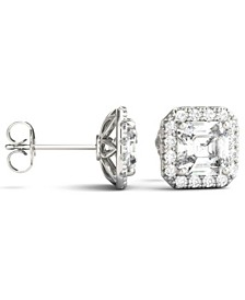 Moissanite Asscher Halo Earrings (3 ct. tw. Diamond Equivalent) in 14k White Gold