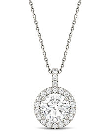 Moissanite Round Halo Pendant (2-1/5 ct. t.w. Diamond Equivalent) in 14k White Gold