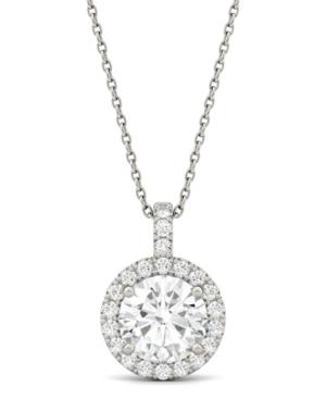 Moissanite Round Halo Pendant (2-1/5 ct. t.w. Diamond Equivalent) in 14k White Gold
