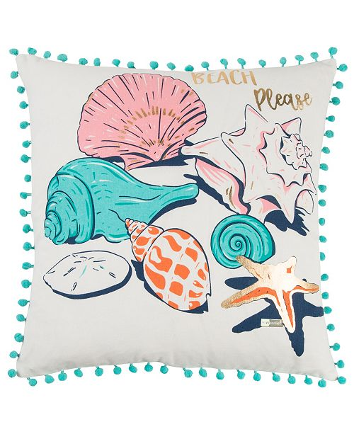 """Rizzy Home Simply Southern 18"""" x 18"""" Sea Shells Pillow"""